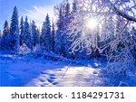 winter snow forest sunset... | Shutterstock . vector #1184291731