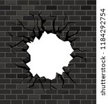 the hole in the brick wall of... | Shutterstock .eps vector #1184292754