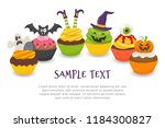 halloween background with six... | Shutterstock .eps vector #1184300827