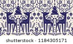 christmas pattern with deer... | Shutterstock .eps vector #1184305171