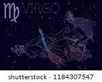 virgo zodiac sign and... | Shutterstock .eps vector #1184307547