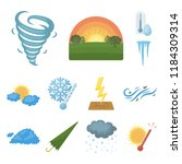 different weather cartoon icons ... | Shutterstock .eps vector #1184309314