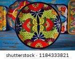 mexican pottery plate talavera... | Shutterstock . vector #1184333821