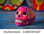 mexican pink skull dia muertos... | Shutterstock . vector #1184334187