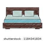 wooden double bed pillows... | Shutterstock .eps vector #1184341834