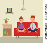 young couple practicing yoga on ... | Shutterstock .eps vector #1184344051