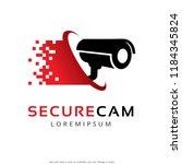secure camera  cctv camera logo ... | Shutterstock .eps vector #1184345824