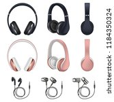 headphones icon set. realistic... | Shutterstock . vector #1184350324
