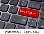 a 'live chat' message on keyboard, for live chat concepts. - stock photo
