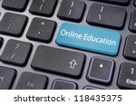 concepts of online education, with message on enter key of keyboard. - stock photo