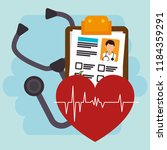 heart cardio with medical... | Shutterstock .eps vector #1184359291