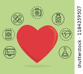heart cardio with medical... | Shutterstock .eps vector #1184359507