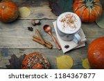 pumpkin spice latte or coffee... | Shutterstock . vector #1184367877