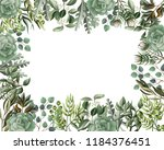 border and frame with leaves... | Shutterstock .eps vector #1184376451