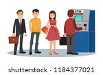 disgruntled people are standing ... | Shutterstock .eps vector #1184377021