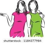 pretty women modeling vector... | Shutterstock .eps vector #1184377984