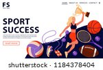 sport award concept with happy... | Shutterstock .eps vector #1184378404