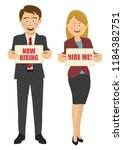 business people holding boards... | Shutterstock .eps vector #1184382751