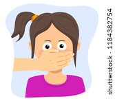 scared young girl with adult... | Shutterstock .eps vector #1184382754
