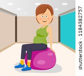 fitness smiling woman sitting... | Shutterstock .eps vector #1184382757