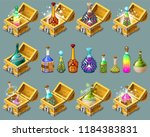 cartoon isometric chests with...