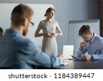 stressed business woman leader... | Shutterstock . vector #1184389447