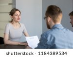 stressed female applicant feels ... | Shutterstock . vector #1184389534