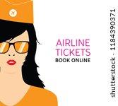 stewardess in orange uniforms... | Shutterstock .eps vector #1184390371