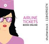 stewardess black in violet... | Shutterstock .eps vector #1184390374
