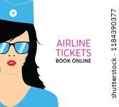 stewardess in blue uniforms art ... | Shutterstock .eps vector #1184390377