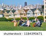 young people in park at alamo... | Shutterstock . vector #1184390671