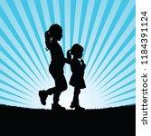 children in nature vector... | Shutterstock .eps vector #1184391124