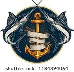 fishing big marlin. deep sea  | Shutterstock .eps vector #1184394064