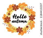 hello autumn written with brush ... | Shutterstock .eps vector #1184413237