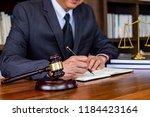 judge gavel with justice... | Shutterstock . vector #1184423164