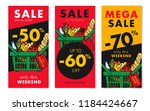 flyers set for grocery store... | Shutterstock .eps vector #1184424667