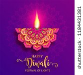 happy diwali festival card with ... | Shutterstock .eps vector #1184431381