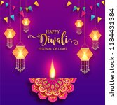 happy diwali festival card with ... | Shutterstock .eps vector #1184431384