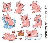 Eight Funny Cartoon  Pigs  ...