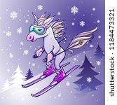 unicorn skiing in winter | Shutterstock .eps vector #1184473321