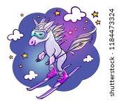 unicorn skiing in winter | Shutterstock .eps vector #1184473324
