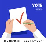 man gives his voice. voting on... | Shutterstock .eps vector #1184474887