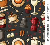 cartoon hand drawn doodles on... | Shutterstock .eps vector #1184474944