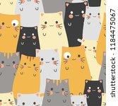seamless pattern cute cat... | Shutterstock .eps vector #1184475067