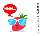 strawberry face cartoon with... | Shutterstock .eps vector #1184475751