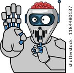 the robot shows that it is... | Shutterstock .eps vector #1184480137