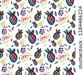 pineapple silhouette seamless... | Shutterstock .eps vector #1184486224