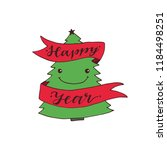 funny new year tree. hand drawn ... | Shutterstock .eps vector #1184498251