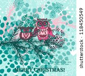 christmas background with cute... | Shutterstock .eps vector #118450549