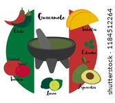 guacamole  typical mexican food ... | Shutterstock .eps vector #1184512264